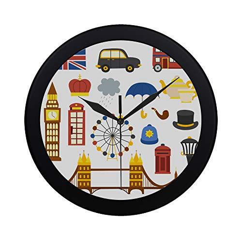 WOCNEMP Moderno Simple Lindo Guardia de Londres Dibujos Animados Reloj de Pared Movimiento de Barrido Interior Pared Clcok para Oficina, baño, Sala de Estar Decorativo 9,65 Pulgadas