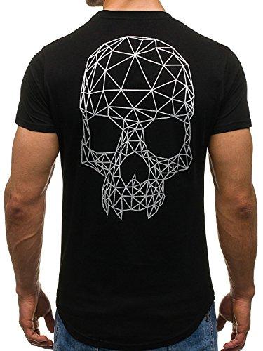 BOLF Herren T-Shirt Tee Kurzarm Rundhals Classic Aufdruck Print Motiv MIX Schwarz_S091