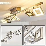 Deckenlampe LED Jamsa – wirkungsvolle Deckenlampe mit quadratischen Kunststoff Strahlern - 6-flammige Deckenleuchte in Nickel matt mit verstellbaren Leuchtenköpfen - je 230 Lumen – 3000 Kelvin