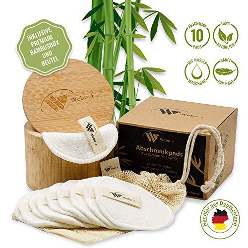 Abschminkpads Waschbar aus Bambus | 10 wiederverwendbare Bambus-Pads | Umweltfreundlich | nachhaltige Wattepadszur Make Up Entfernung | zero waste | Inkl. Wäschenetz und Aufbewahrungsbox