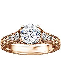 Silvernshine 1.23 Cttw White Diamond CZ 10k Yellow Gold Fn Wedding Engagement Ring