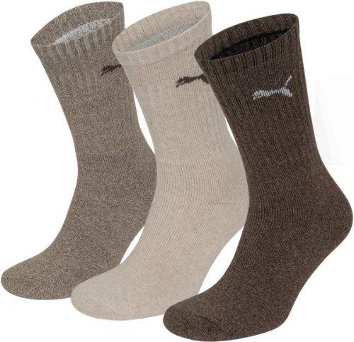Puma - Unisex Sport Socken 3er Pack, Beige (Noce/Marrone), 39/42