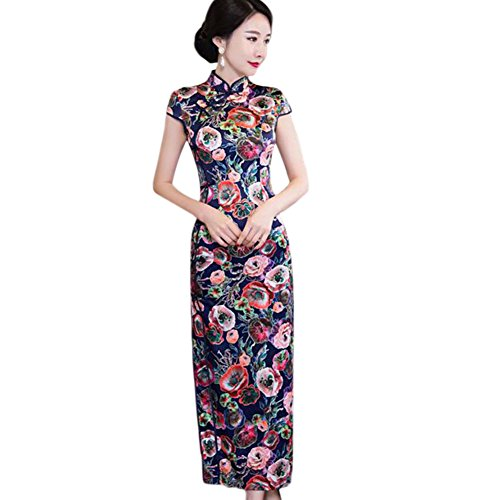 Zhuhaixmy Elegant Frauen Traditionell Blumen gedruckt Cheongsam ...
