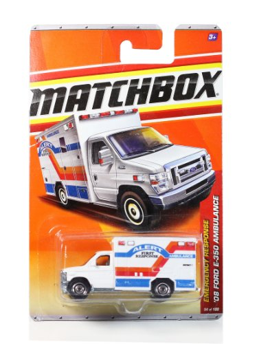Preisvergleich Produktbild Mattel Year 2010 Matchbox MBX Emergency Response Series 1:64 Scale Die Cast Car #54 - District 7 Alert First Response White Color '08 FORD E-350 AMBULANCE (T8945) by MBX