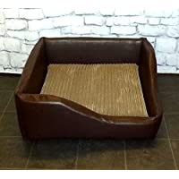 """Zippy Faux Leather Corner Dog Bed - 36"""" x 36"""" - Brown + Mocha Cord - Extra large"""