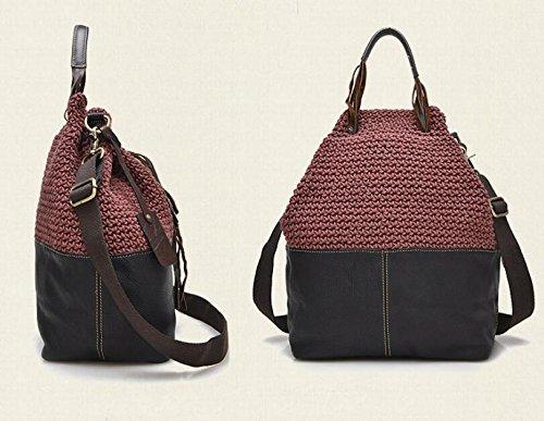 DJB/Fashion Schultertasche Retro Two-Tone Leder Damen Tasche Handtasche Weinrot
