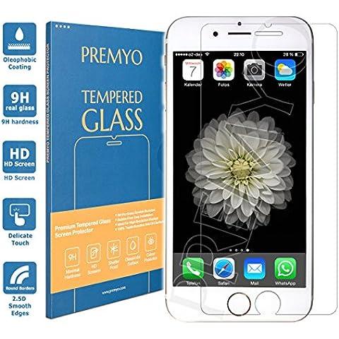 PREMYO vetro temperato iPhone 6. Pellicola vetro temperato iPhone 6 con una durezza di 9H e bordi arrotondati da 2,5D. Pellicola in vetro iPhone 6 (un poco più piccolo del display curvo)