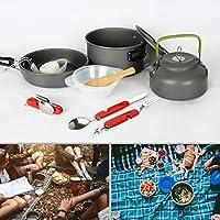 DecoDeco acampa kit de cocina portátil de utensilios de cocina 11pcs, pour 2 à 3 Personnes, ideal para Excursión/ Acampada/ Senderismo