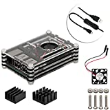 4 in 1 Professional Kit for Raspberry Pi 3 Model B, black 9 Layers Case Box Cooling Mini Fan Micro USB Cable Kühler (das Schwarz)