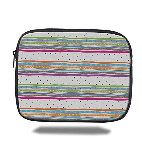 Tablet Bag for Ipad air 2/3/4/mini 9.7 inch,Striped,Abstract Wavy Stripes Polkadots Ribbons Bows and Hearts Girly Patterned Artwork,Multicolor,3D Print Stripe Ribbon Strap