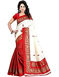 Shree Ram Krishna Bhagalpuri Silk Saree With Blouse Piece (saree new s1144_White_Free Size)