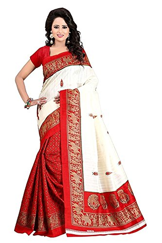 Shree Ram Krishna Bhagalpuri Silk Saree With Blouse Piece (saree new s1144_White_Free...