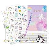 Cuaderno Unicorn A5 Diario de Chicas Libro de graffiti Papelería Unicornio Hoja en blanco con Metal Bookmark, Etiqueta engomada del PVC unicornio, Pluma estrellada, Bolso De La Pluma (Planeta)
