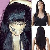 """Perruque Lace Wig Cheveux Naturels Brésilienne Perruque Femme Cheveux Humains Remy Raide - 360 Lace Frontal Wig (Densité: 130%, Longueur: 18""""/45cm)"""
