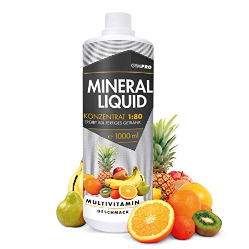 GymPro Mineraldrink Mineralgetränk Low Carb Vital Drink 1:80, 1000ml Sirup Konzentrat in Flasche mit L-Carnitin, Magnesium und Vitamin für Fitness (Multivitamin) (Unterstützung Sirup)