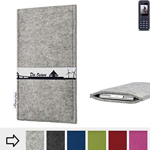 flat.design für bea-fon AL250 Schutz Hülle Handy Case Skyline mit Webband Ostsee - Maßanfertigung der Schutztasche Handy-Tasche aus 100% Wollfilz (hellgrau) für bea-fon AL250