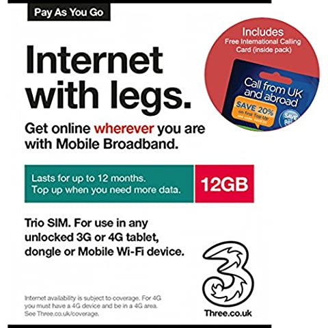 Three UK PAYG Trio Data SIM Card Mobile Broadband -12GB + FREE International Calling Card - (RETAIL