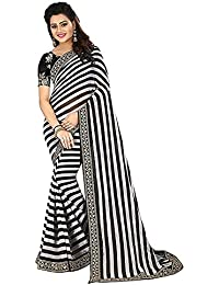 M Tex Women's Black And White Striped (Zebra Style) Georgette Printed Saree With Blouse