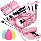 Sanva 32pièces set à pinceaux de maquillage avec étui voyage + éponge sans latex, set de pinceaux à maquillage professionnel 32er Rosa + Schwamm