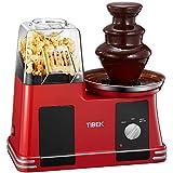 Popcornmaschine Heißluft Popcorn Maker mit Edelstahl Schokoladenfontäne, Ölfreie Maschine mit Weites-Kaliber, Messbecher, Einfach zu Bedienen und zu Reinigen, 1200 Watt, BPA-frei.