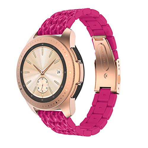 Janly Compatible Montre Samsung Galaxy 42mm, Bracelet De Montre Galaxy Bracelet en Acier Inoxydable pour Samsung Galaxy Watch 42mm (Rose Vif)