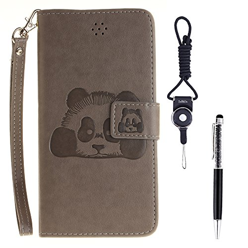 Custodia iPhone 6s Plus Case, SsHhUu Cover Portafoglio in Vera Pelle [Carta Fessura] [Magnetica Chiusura] con Penna Capacitiva e Lanyard per Apple iPhone 6 Plus / 6s Plus (5.5) Grigio Grigio