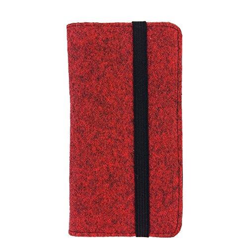 handy-point Universell Organizer für Smartphone Tasche aus Filz Filztasche Filzhülle Hülle Schutzhülle mit Kartenfach für Samsung, iPhone, Huawei (5,6-6,4 Zoll max 18 x 9,3 m, Melange: Rot)