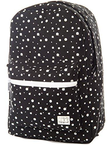Spiral Glow In The Dark Polka Dot Backpack Rucksack Schoolbag Black Black (Leuchten Dot Polka)