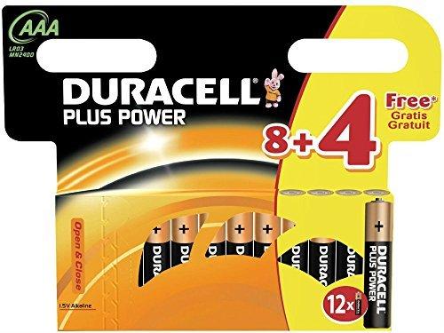 Duracell 12 x AAA Plus Power Piles alcalines 1,5 V – LR03 MN2400–1 Lot de 8 + 4
