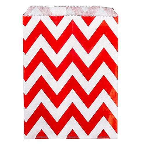 25 sachets à bonbons en Papier Motif Chevron Rouge mariage Blanc