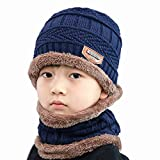 Lispeed Kindermützen Jungen Kinder Wintermütze Winterschal Beanie Kinder Strickmütze Beanie Mütze für Kinder mit Fleecefutter