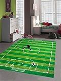 Traum Kinderteppich Spielteppich Kinderzimmerteppich Fußballteppich in Grün, Größe 160x230 cm