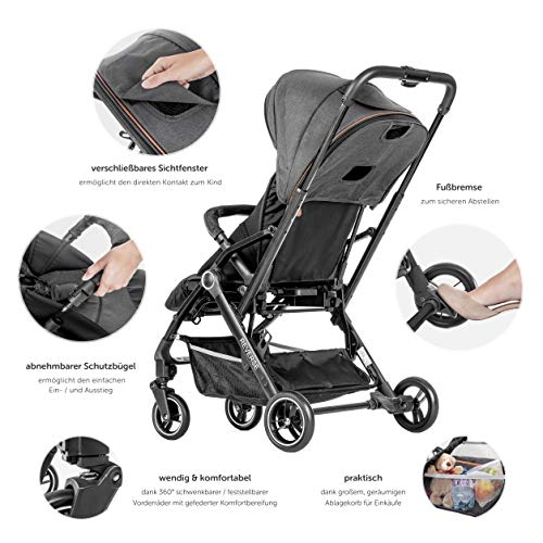 Hoco Buggy Reverse - Ultra Lightweight Stroller with Reversible Seat | Folds Up Small - Grey/Black  Hoco