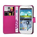 Cadorabo Hülle für Samsung Galaxy S3 Mini - Hülle in Cherry PINK – Handyhülle mit Kartenfach und Standfunktion - Case Cover Schutzhülle Etui Tasche Book Klapp Style
