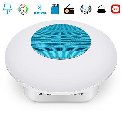 Touch Control Bluetooth Karte Lautsprecher Bunt LED Nachtlicht, USB Lade Camping Tragbare Beleuchtung Lautsprecher, Wohndekoration Bunt Mit Schlaf Lichtern,Blue