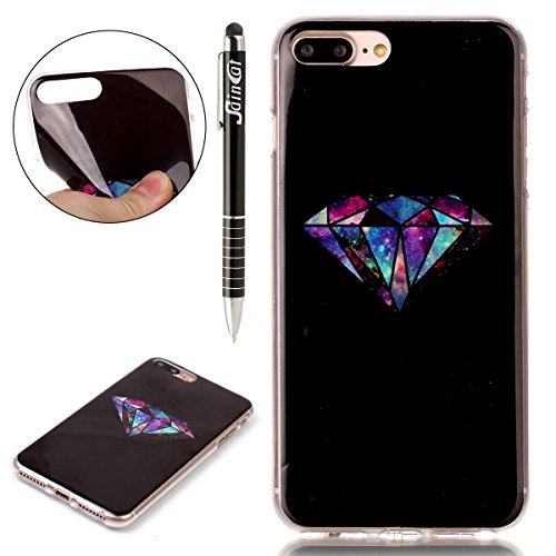 Custodia iPhone 7 Plus,iPhone 7 Plus Cover,SainCat Custodia in Morbida TPU Protettiva Cover per iPhone 7 Plus,Creative Design Transparent Silicone Case Ultra Slim Sottile Morbida Transparent TPU Gel C Trapano esagonale nero