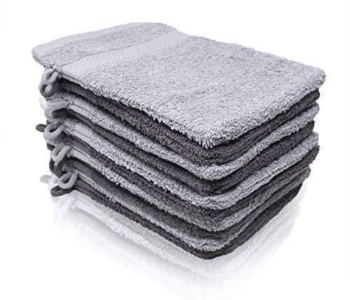 Wash Monkey Luxus Waschlappen Set, 10 tlg. Frottier Waschhandschuh Baumwolle, Premium Qualität | hellgrau & anthrazit