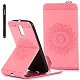 Motorola Moto G4 Leather Case,Slynmax Flowers Design Mandala Embossed Flip Case Protector,Open Up and Down Exquisite Phone Holster Pattern Magnetic Closure PU Leather Wallet Cover Screen Protector[Card Slots][Strong Magnet][Stylus Pen]Smart-shell Stand with Wallet Fuction for Motorola Moto G4-Pink