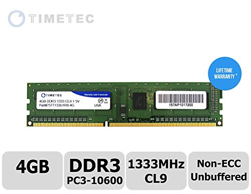 Timetec (P/N 75TT133U1R8-4G) 4GB Single Rank 1333MHz DDR3 (PC3-10600) Non-ECC Unbuffered CL9 240-Pin UDIMM 1Rx8 512x8 1.5V Desktop PC Computer Memory Ram Module Upgrade (4GB)