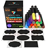 Artistic Vista - Liquid Chalk Pens / Markers. JUMBO with 8 Chalk labels included. Artist Quality. Use on glass, window, chalkboard, blackboard, etc. by Artistic Vista