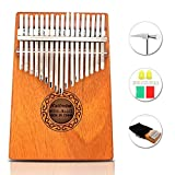 Portable 17 Touches Du Piano au Pouce Instrument de Musique Marimba Acajou Professionnel avec Accordeur et 7 Accessoires Pour Music-Lovers Débutant,17 Touches Kalimba