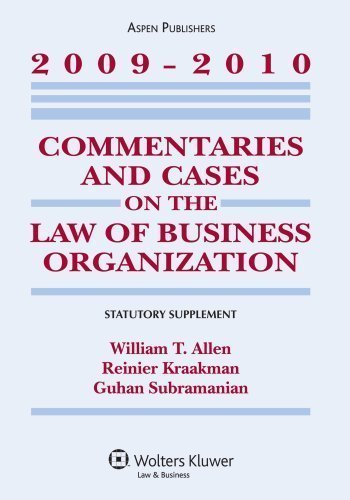 commentaries-cases-law-business-organization-2009-2010-statutory-supplement-by-allen-william-t-kraak