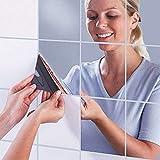 IsEasy 16 Stück DIY Spiegelfliesen, 15x15cm Wandspiegel Selbstklebend Spiegelfolie Aufkleber Spiegel für Badezimmer Wohnzimmer Küche Umkleidekab