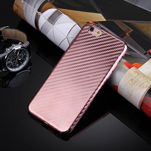 Phone case & Hülle Für iPhone 6 Plus & iphone 6s Plus Künstlerische Carbon Fiber Texture Soft TPU Schutzhülle Back Cover ( Color : Black ) Rose gold