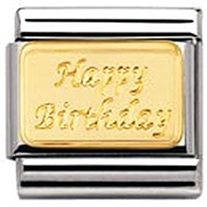Nomination Composable Classic Engraved Signs Edelstahl und 18K-Gold (Plakette Happy Birthday) 030121