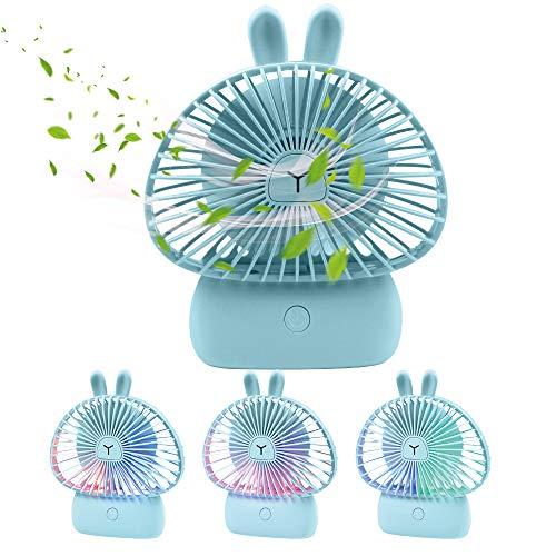 TekHome Mini Akku Hand Ventilator mit Bunten Lichtern, 10mm Tischventilator Klein Sehr Leise Für Büro Tisch, USB Kleiner Handventilator Leiser, 5-Stunden Akku, Geschenke für Frauen, Blauer Hase. -