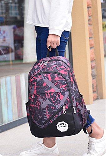 5 All Damen Herren Neu Fashion Gut Aussehend Bergsteigen Tasche Canvas Rucksack Schulrucksack Reisetasche Casual Daypacks Cityrucksack für Universität Outdoor Freizeit 31 x 15 x 46cm Rot