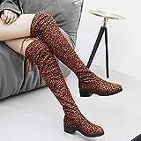 TianWlio Boots Stiefel Schuhe Stiefeletten Frauen Herbst Winter Wildleder Leopardenmuster Runde Spitze hohe Stiefel Overknee Schuhe Stiefel Weihnachten Braun 37