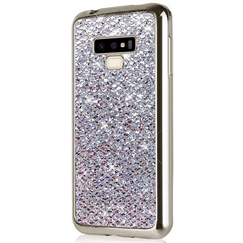 Herbests Kompatibel mit Samsung Galaxy Note 9 Hülle Glitzer Glitzer Luxus Glänzend Kristall Strass Diamant Überzug Silikon Schutzhülle Handyhülle Tasche Bumper Case Ultradünn Cover,Silber