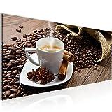 Bilder Küche Kaffee Wandbild 100 x 40 cm Vlies - Leinwand Bild XXL Format Wandbilder Wohnzimmer Wohnung Deko Kunstdrucke Braun 1 Teilig -100% MADE IN GERMANY - Fertig zum Aufhängen 501812a